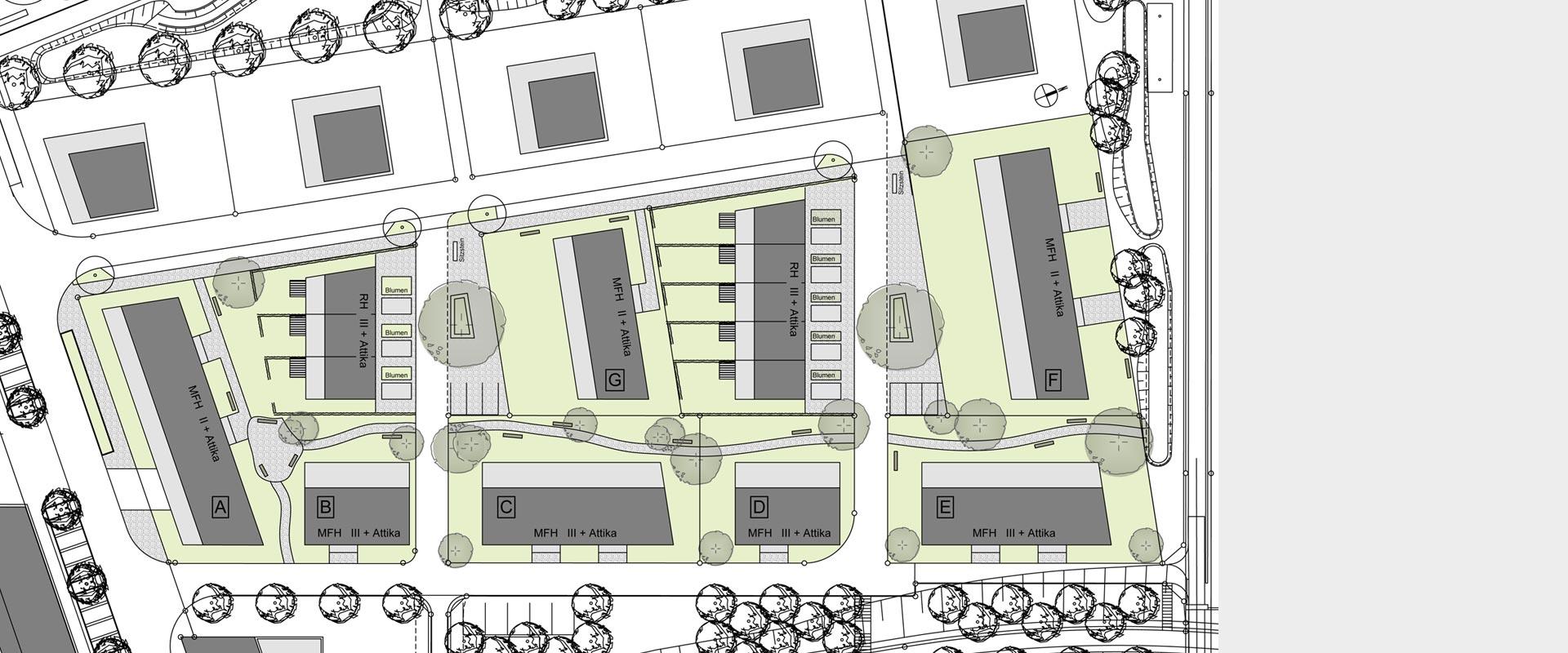 Architekturbüro Musahl Waldshut Wohnanlage Riedpark in Lauchringen Lageplan