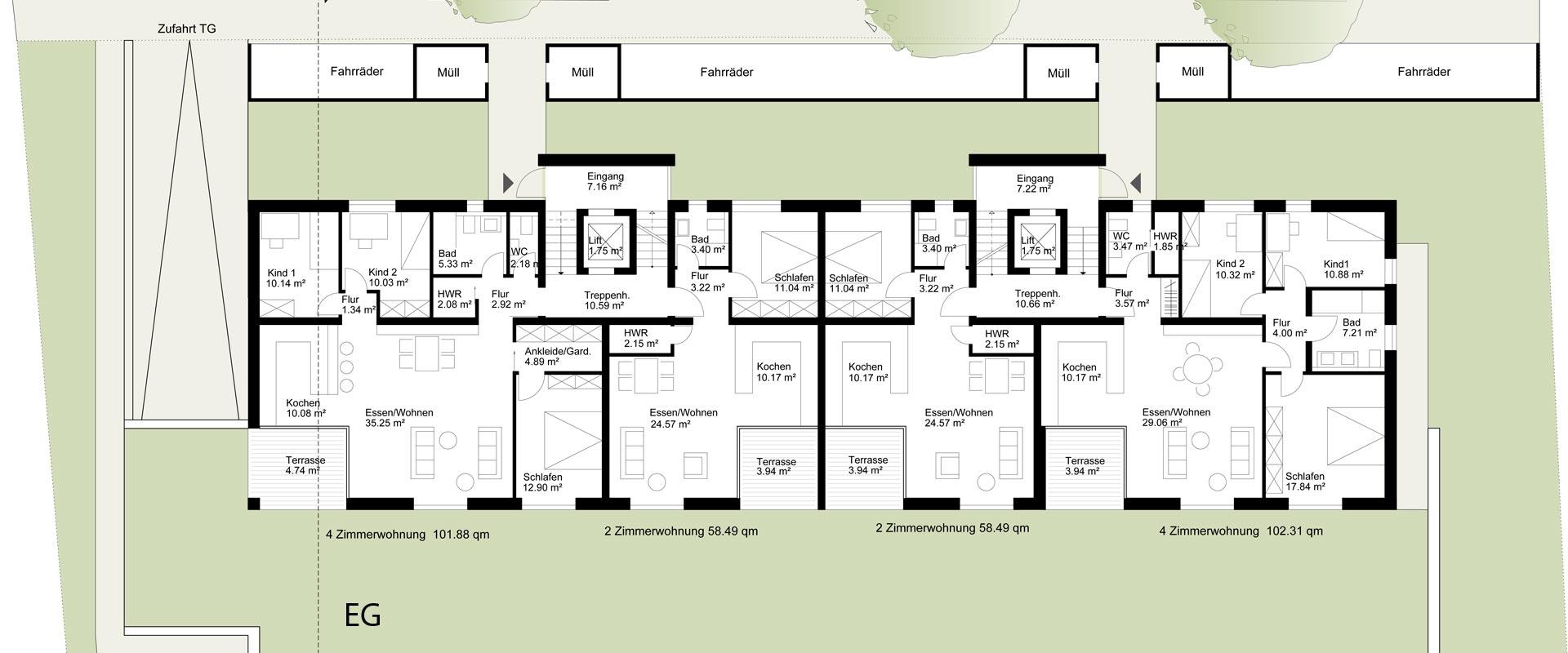 Architekturbüro Musahl Waldshut Wohnanlage Schaffhauser Straße in Tiengen Grundriss EG