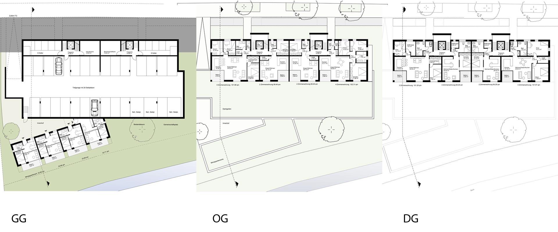 Architekturbüro Musahl Waldshut Wohnanlage Schaffhauser Straße in Tiengen Grundrisse