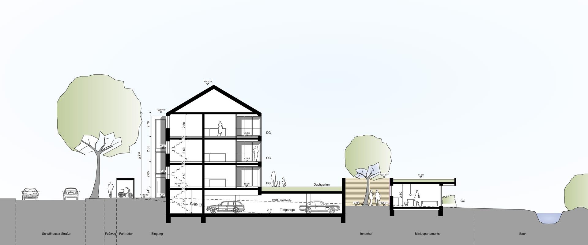 Architekturbüro Musahl Waldshut Wohnanlage Schaffhauser Straße in Tiengen Schnitt