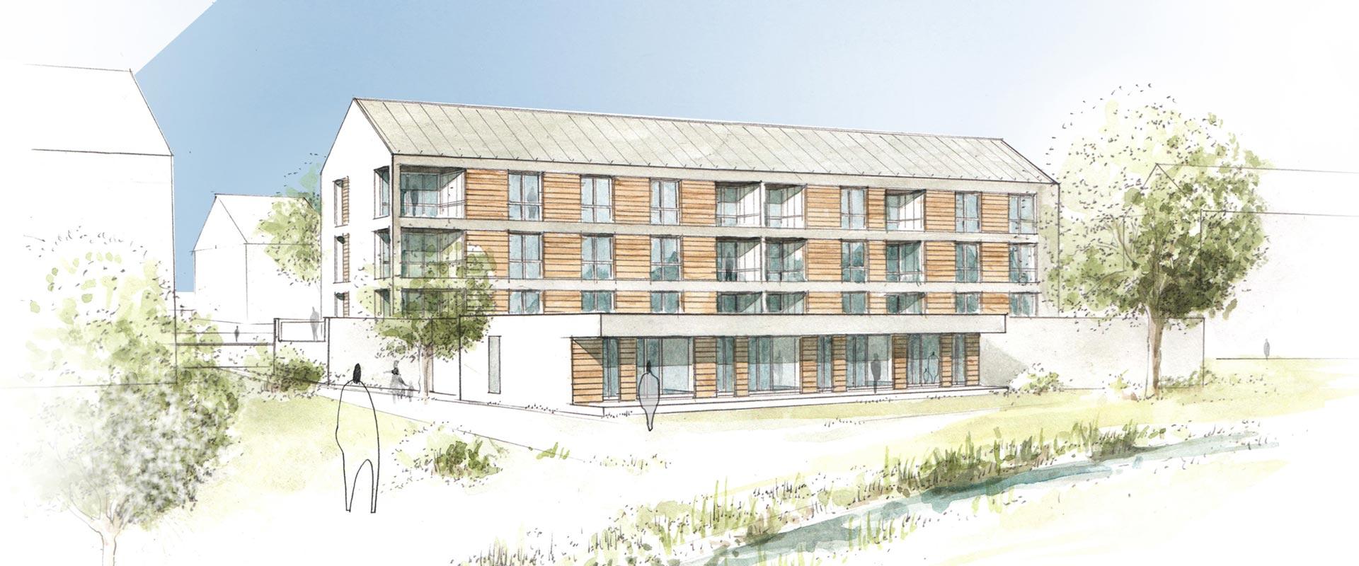 Architekturbüro Musahl Waldshut Wohnanlage Schaffhauser Straße in Tiengen 3D Zeichnung