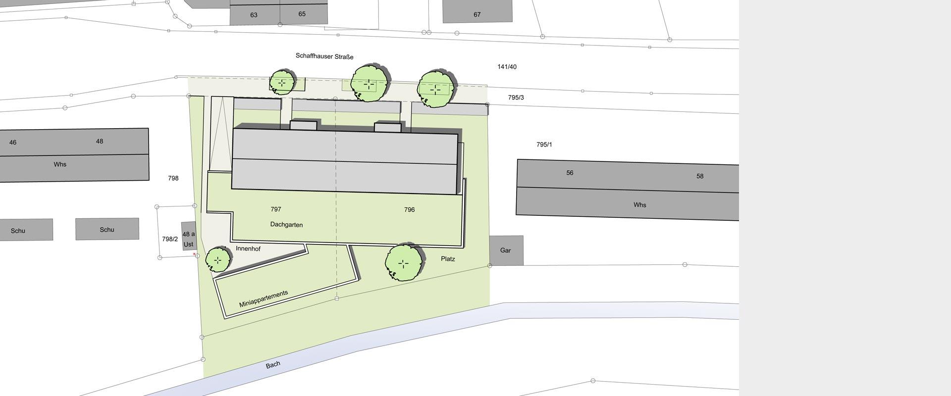 Architekturbüro Musahl Waldshut Wohnanlage Schaffhauser Straße in Tiengen Lageplan