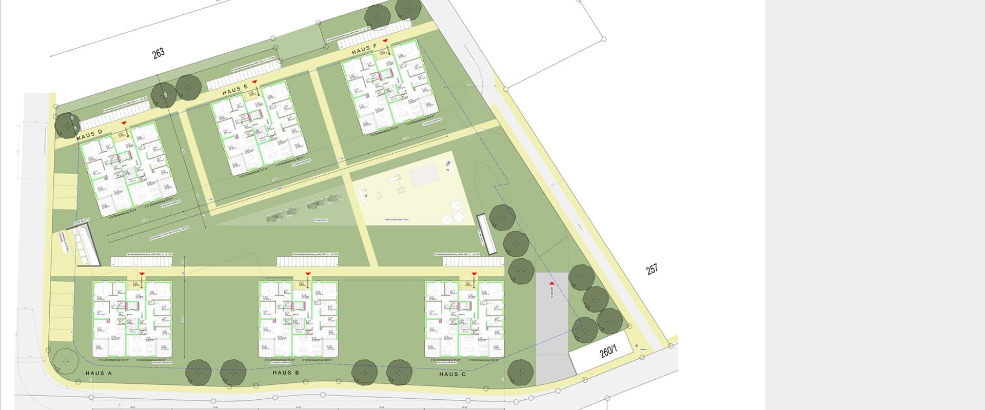 Architekturbüro Musahl Waldshut Wohnanlage Neunschwanz in Kadelburg Lageplane