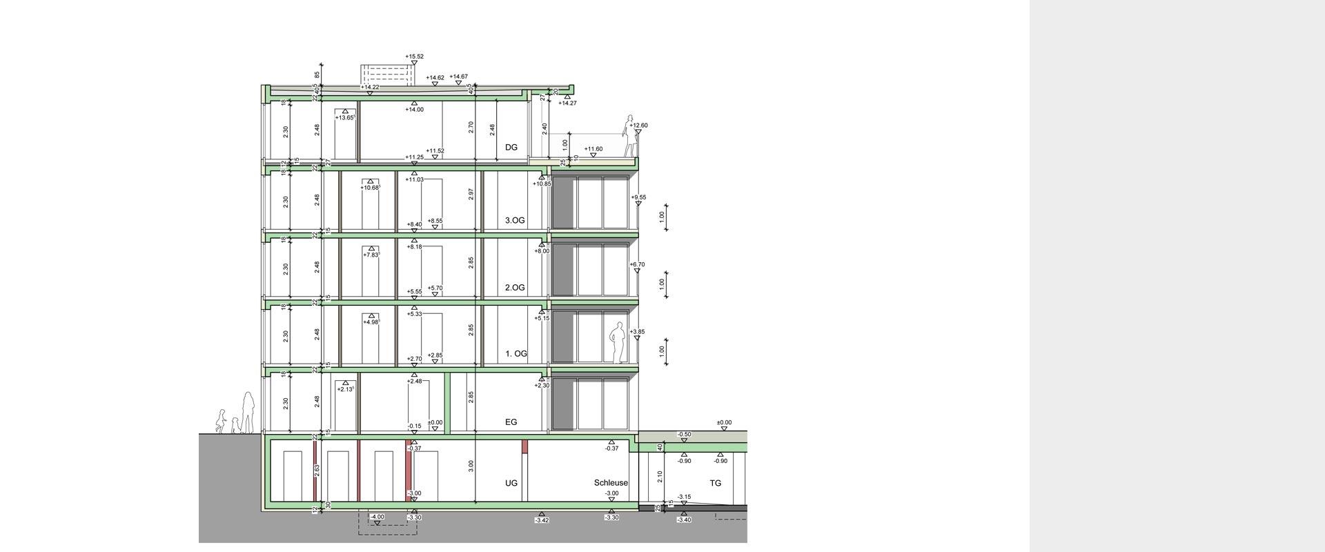 Architekturbüro Musahl Waldshut Wohnanlage Neunschwanz in Kadelburg Schnitt
