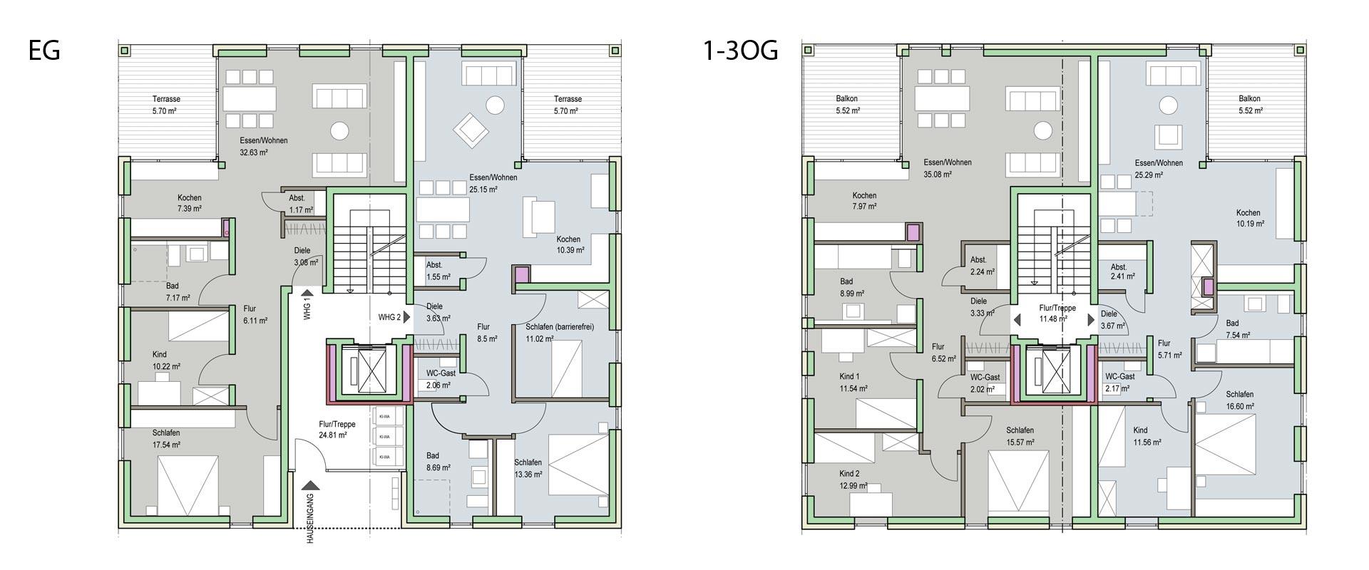 Architekturbüro Musahl Waldshut Wohnanlage Neunschwanz in Kadelburg Grundrisse